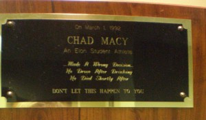 A plaque hangs in the Kernodle Center office to honor the death of Chad Macy, the student whose death inspired the start of the Safe Rides program.